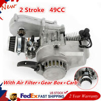 49cc 2-stroke Pull Start Engine Motor + Gear Box Mini Pocket Dirt Bike ATV Buggy