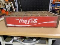 Vintage Coca-Cola Wooden Red Soda Pop 24 Bottle Crate Carrier Box case wood coke
