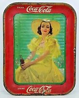 Vintage Coca Cola Girl In The Shade Metal Tin Lithographed Serving Tray 1938