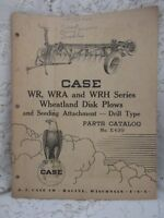 Vintage Case Parts Catalog W2 WRA and WRH Wheatland Disk Plows