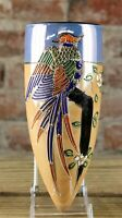 ANTIQUE JAPAN LUSTER PORCELAIN WALL POCKET VASE WITH EXOTIC BIRD OF PARADISE