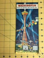 Vintage Map Brochure Washington Points of Interest and Touring Map Chevron 1962