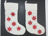 Pottery Barn Christmas Stockings Set of 2, Velvet, Quilted Fabric - White w/ Red