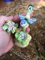 Signed Crown Staffordshire English Tomtit Figurine w/ Nest Eggs Hand Painted