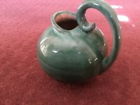 STANGL GREEN Pottery Ball Pitcher w/ Swirl Handle - USA 3211