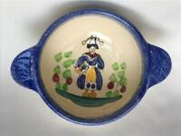 Vintage Hand Painted French Country Pottery Lug Bowl Quimper Style Murielle