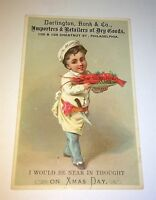 Rare Antique Victorian American Holiday Christmas Advertising Goods Trade Card!