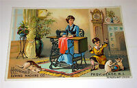 Antique Victorian Advertising Cat Pets amp; Child Household Sewing Trade Card