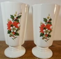 SET OF 2 VINTAGE ROYAL HAEGER WHITE VASES WITH POINSETTIA FLOWERS