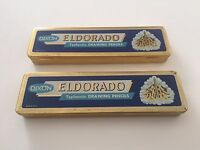 VINTAGE MID CENTURY PAIR OF 2 EL DORADO PENCIL BOX TINS WITH HINGED LIDS