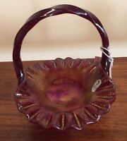 Fenton Iridescent Red Stretch Glass Cob Web Grape Pattern Ruffled Basket 4633RL