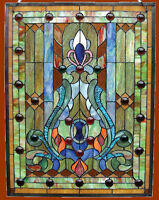 Stained Glass & Cabochons Victorian Design Window Panel 18