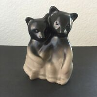 Vintage Pigeon Forge Art Pottery Double Bears Figurine Sculpture Two-Tone Statue