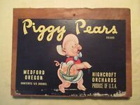 Piggy Pears Brand Fruit Crate Label on Wood Box End. Fruit Box Label.