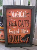 HALLOWEEN BLACK MAGICAL CAT WOODEN Wall SIGN PRIMITIVE VINTAGE Style Tabletop
