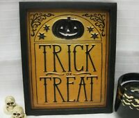 HALLOWEEN TRICK or TREAT TIN Wall SIGN PRIMITIVE VINTAGE METAL Style DECOR