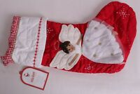 NWT Pottery Barn Kids red quilted stocking Christmas brown hair angel dark skin