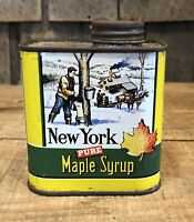 RARE Vintage New York Maple Syrup 1 Pint Advertising Tin Litho Can Collectible