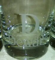 Lot Of 5 Dewars Scotch Whiskey Rock Glasses Round Thick Bottom Collection
