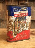 Vintage MAINE MAPLE SYRUP 1 Pint Tin Can Vacationland Country Store Display Sign