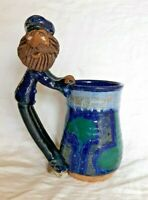 Vtg 1977 Our Gang Arts Studio Pottery Blue Tankard/Mug Sea Captain Sailor