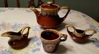 WMU - Hull Brown Drip Glazed Coffee Mug and Tea Pot, Cream & Sugar Bowls