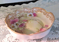 Antique Nippon Hand Painted Candy/Trinket Dish Gold Beaded Trim Floral Marked