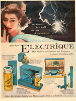 1950s Christmas perfume Ad MAX FACTOR ELECTRIQUE New Fragrance 111816