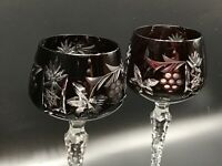 VTG 2 Mid Century Bohemian Cut to Clear Crystal Oxblood Red WINE GOBLETs 8