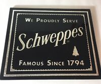 Vintage Schweppes Bar Sign Beeco Foil Glass Black Famous Since 1794 Silver Tree