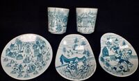 5 Vtg Nymolle Denmark Faience HOYRUP VIKINGS SHIPS Freeform Bowls Demi Cup Plate