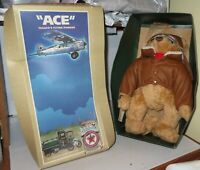 Texaco Flying Pioneer ACE Stuffed Plush Teddy Bear Jointed Texaco Oil 1998 Boxed