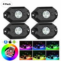 For Jeep ATV 4 Pod RGB LED Rock Lights Offroad Music Wireless Bluetooth Control