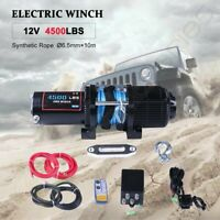 4500LBS 12V Electric Winch Kit ATV UTV 1/4'' 33ft Synthetic Rope Towing 4000LBS