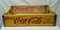 Coca Cola Vintage 1967 Yellow Wooden Crate Carrier Box Coke Bottles CHATTANOOGA