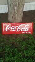 Vintage 1950's Coca Cola Original Porcelain Red Sled Grocery Sign 44x17