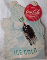 VTG 1953 Coca Cola JACK FROST MR WINTER Bottle Cardboard Counter Display Sign