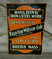 Vintage Early Iron & Steel Work Building Construction Boston MA Tin Tacker Sign