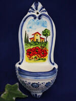 Tuscany Italy Holy Water Font Italian Pottery Sculpture Wall Decor Poppy Fields
