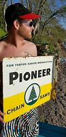 Vintage Metal Pioneer Chain Saw Outboard Gas Oil Flange Sign Chainsaw 22x18
