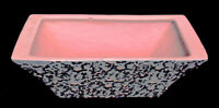 McCOY POTTERY PLANTER GLOSSY PINK BROCADE OVER MATTE GRAY VINTAGE 50s ~ VGUC