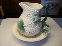 Majolica? Pottery Multi Color Leaf Pattern Grapes and Vine Pitcher and Bowl