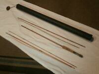 Vintage Original  Bamboo Fly Pole Rod cane 5 SECTION UNKNOWN MAKER WITH CASE