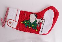 NWT Pottery Barn Kids Snoopy Christmas Tree Stocking quilted red Peanuts