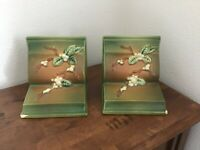 Vintage Roseville Pottery Bookends - Snowberry Design 18-E Made In USA
