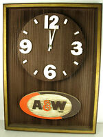 Vintage A&W Restaurant WOOD WALL CLOCK RaRe Sign Advertising Display Root Beer