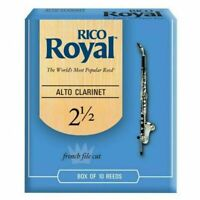 Rico Royal Alto Clarinet Reeds Strength 2.5  2 1/5 10 Reeds RDB1025