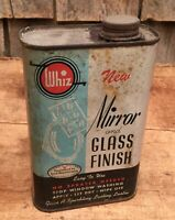 Vintage WHIZ Mirror And Glass Finish Tin Can Sign Good Housekeeping Home Decor