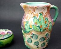 Large Lesal Ceramics Pottery Pitcher Flowers Southwestern Signed Hand Painted