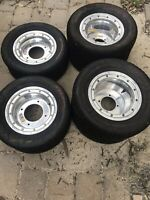 Maxxis TT Flat Track Tires And DWT Polished Beadlocks Honda ATV 250r Trx450